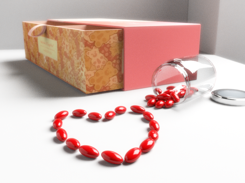 illustration of gift box with candy in shape of heart